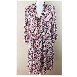 Floral drop waist long sleeve v neck dress size XL